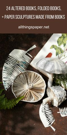 Round up of 24 Altered Books, Folded Books, and Paper Sculptures Made from Books via All Things Paper. Woodland paper sculptures by Clare Youngs. #papersculpture, #alteredbook, #bookart
