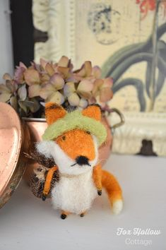 Felted Fox, Copper, Dried Hydrangeas - Simple Fall Decor.. Natural Elements @ foxhollowcottage.com