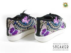 Hmong Embroidery Fabric Men or Ladies Low Top Sneakers custom order Handmade 100 % Size 35- 41 EU