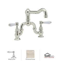 ? bathroom $545.25 View the Rohl A1420LMPN-2 Polished Nickel Country Kitchen Bridge Faucet with Metal Lever Handles at Build.com.