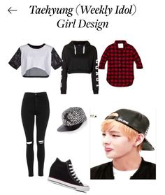 Polyvore: cloe135131 Taehyung Girl Design For His Weekly Idol Outfit ❤️