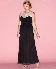 Trixxi Plus Size Dress, Sleeveless Illusion Maxi Empire - Plus Size Dresses - Plus Sizes - Macy's