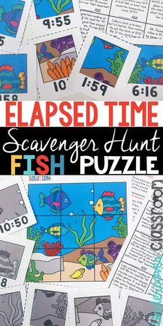 Elapsed time enrichment activity for upper elementary students. Students search around the room for puzzle pieces to make a fish puzzle. Enrichment Activities, Time Activities, Summer Activities For Kids, Elementary Math, Upper Elementary, Fourth Grade Math, Third Grade, Time Word Problems, Teaching Math