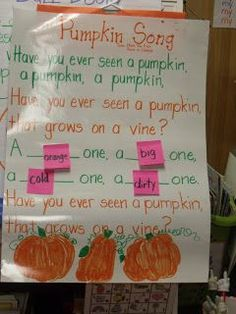 Pumpkin song with adjectives - Mrs. Jump's Kindergarten Class... might try this with my first grade small group next week....