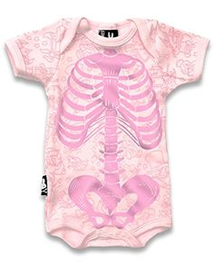 Pink Rib Cage Baby Bodysuit 36 Months -- Click on the image for additional details.