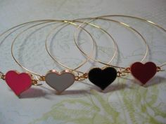Items similar to Enamel Heart Bangle on Etsy Summer Bracelets, Enamel, Bangles, Hoop Earrings, Passion, Jewellery, My Love, Trending Outfits, My Style