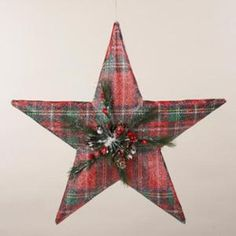 11 Country Cabin Red Plaid Star Christmas Ornament