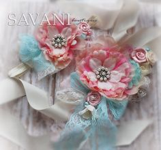 Aqua and coral pink baby girl headband and sash by SAVANIboutique, $37.99