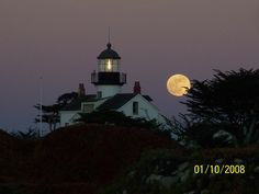 Night shot of the Port Pinos Lighthouse in Pacific Grove, CA.  It is the oldest continuously operating lighthouse on the Pacific coast.  Photo by Karen Anderson
