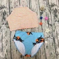 2019 Sexy Floral Striped Printed High Waist Swimsuit Strappy Swimwear Women High Neck Bikinis Set Halter Bandage Bathing Suit Source by mythgardent bathing suits for teenagers Bathing Suits For Teens, Summer Bathing Suits, Swimsuits For Teens, Cute Bathing Suits, Cheap Swimsuits, Bikini Sets, Bikini Swimwear, Sexy Bikini, Swimwear Fashion