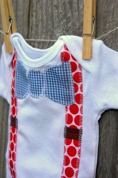 "Swanky Baby Boy Onesie Bow Tie and Suspenders ""The Swanky Patriot"". $16.00, via Etsy."