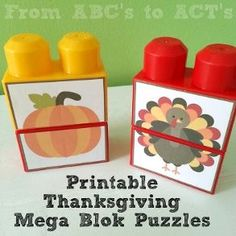 Printable Thanksgiving Mega Blok puzzles for toddlers and preschoolers - From…