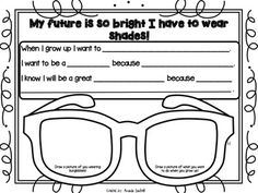 Future Is So Bright I Have To Wear Shades {Freebie} Writing Prompts and activity. Great for end of the school year! :)My Future Is So Bright I Have To Wear Shades {Freebie} Writing Prompts and activity. Great for end of the school year! Kindergarten Writing, Teaching Writing, Writing Prompts, Literacy, Kindergarten Graduation, Writing Skills, Teaching Tools, End Of Year Activities, Writing Activities