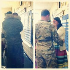 My soldier returned early from deployment! Military Homecoming Pictures, Surprise Military Homecomings, Military Families, Army Life, Hero, Cute, Kawaii