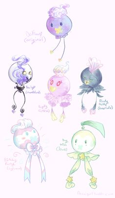 "noxxigirl: ""some pkmn variations with drifloon bc drifloon's my fave "" Pokemon Fusion Art, Pokemon Fan Art, Pokemon Sun, Cute Pokemon, Pokemon Breeds, Arte Do Kawaii, Ghost Type, Eevee Evolutions, Original Pokemon"