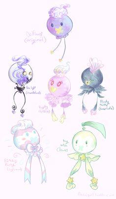 "noxxigirl: ""some pkmn variations with drifloon bc drifloon's my fave "" Brock Pokemon, Pokemon Mix, Pokemon Fusion Art, Pokemon Funny, All Pokemon, Pokemon Fan Art, Pokemon Stuff, Pokemon Breeds, Ghost Type"