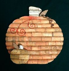 pumpkins wall hanging made from recycled corks by CorkCreationsbyK