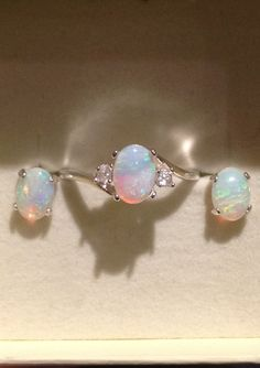 Australian Opal Jewelry Set - Opal Ring - Opal Stud Earrings - Silver Opal Ring with White Zircons - CUSTOM on Etsy, $239.00
