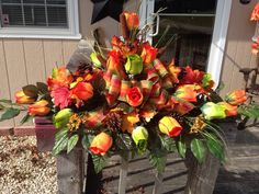 Fall Decor for a headstone