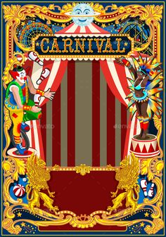 Buy Carnival Poster Circus Theme by aurielaki on GraphicRiver. Circus vintage theme for kids birthday party invitation or post. Adult Circus Party, Circus Carnival Party, Circus Theme Party, Carnival Birthday Parties, Vintage Carnival, Vintage Theme, Party Themes, Ideas Party, Theme Ideas