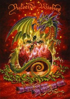 Flaming Dragon Pudding yule card by fantasy artist Briar. Dragon yule card from the Mid-Winter Christmas card range by Briar. Christmas Dragon, Christmas Art, Winter Christmas, Christmas Animals, Christmas Stuff, Winter Holidays, Happy Holidays, Christmas Images, Magical Creatures