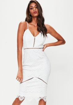 Missguided - White Lace Ladder Detail Midi Dress Special Dresses 912372c15