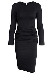 734f8283a51ab Missufe Women's Ruched Casual Sundress Midi Bodycon Sheath Dress (Medium,  Long Sleeve Black)