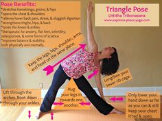 Triangle yoga pose strengthens the feet, ankles, knees, legs, chest and arms