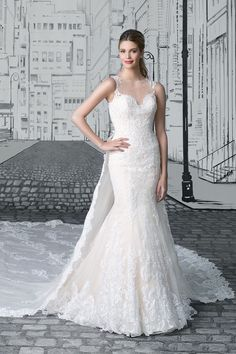 Justin Alexander - Style 8909: Lace Fit and Flare Gown with Detachable Monarch Train