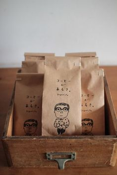 Coffee packaging for Coffee Sunlight, Tokyo. Illustration by Keiko Shibata.