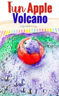 This fun fizzy apple volcano science experiment is a super-simple yet utterly amazing experiment for your young children. No special ingredients required and you can do it over and over again, as long as your supplies last. Another STEAM activity that works for multiple topics and units. #volcanoes #science #livinglifeandlearning Steam Activities, Science Activities, Science Projects, Volcano Science Experiment, Easy Science Experiments, Geography Games For Kids, Apple Theme, Edible Crafts, Elementary Science