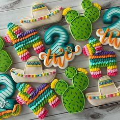 Mexican Fiesta Birthday Party, 2nd Birthday Party Themes, Second Birthday Ideas, Fiesta Theme Party, First Birthday Parties, Taco Party, Mexican Party Decorations, Llama Birthday, Birthday Cookies