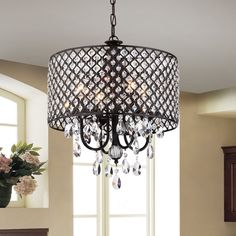 Warehouse of Tiffany Monet Black Crystal Round Chandelier (Black-finished Crystal Round Chandelier) Home Decor Accessories, Round Chandelier, Ceiling Lights, Black Chandelier, Lights, Bronze Chandelier, Light Fittings, Warehouse Of Tiffany, Copper Chandelier