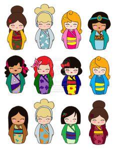 Belle, Cinderella, Aurora, Jasmine, Esmeralda, Ariel, Snow White, Aurora, Pochahontas, Cinderella, Mulan & Belle (by KaosHoneyBun @deviantART)
