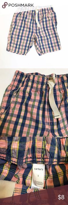 CARTER'S [boys] Pink blue plaid Shorts Pull on shorts with elastic waistband. No damage, gently worn. Carter's Bottoms Shorts