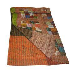 Exquisite Patchwork Patola Silk Quilt Throw Reversible Queen Size Vintage Silk Quilt vintage quilt Vintage Kantha quilt, Boho blanket by onlycraftshop on Etsy Kantha Quilt, Vintage Quilts, Bed Covers, Art Deco Fashion, Bed Spreads, Outdoor Blanket, Indian, Silk, Boho