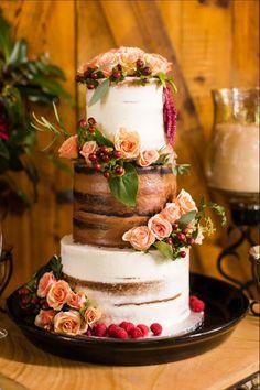 Semi naked chocolate vanilla wedding cake burgundy and coral (Wedding Cake) #chocolateweddingcakes