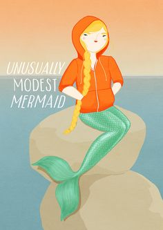 Unusually Modest Mermaid by Kris Atomic. Love her work! Real Mermaids, Pretty Art, Artsy Fartsy, Buy Art, Original Artwork, Arts And Crafts, Sketches, Design Inspiration, Cartoon