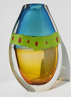 """OLIVIER MALLEMOUCHE - """"Incalmo"""" -  Since he was 8 years old, his lifelong ambition was to become an artist. He trained with his uncle who shared the basic techniques of glass blowing. With no formal training, he's perfected an individual style over 18 years as an artist, bringing the art of glass blowing to an entirely new level. His imagination and passion bring a contemporary approach to this ancient art."""