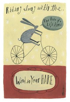 Beautifully simple illustration of a Hare on a bike, to make you smile.