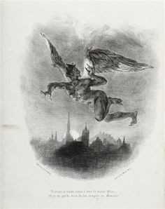 """Eugène Delacroix (1798-1863) - Méphisto dans les airs survolant la ville - Lithographie pour le  """"Faust"""" de Goethe  1828"""