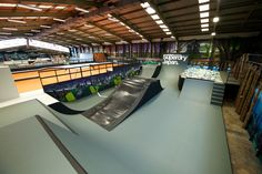 Rush skatepark is a large indoor park made up of 5 sections laid out over a ft. Skating Rink, Skate Park, Extreme Sports, Bmx, My House, Backyard, Indoor, Architecture, Interior
