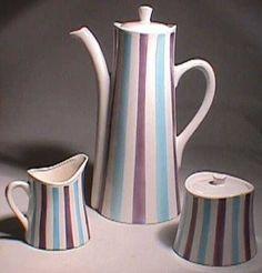 1950s Striped Ceramic COFFEE SET Pot Sugar & Creamer by FuzzyIzzys, $48.00