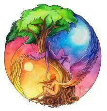 Tree of life, sun and the moon