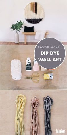 The perfect DIY wall decor! You won't believe what lies beneath this fabulous wall hanging — a hula hoop! That's right, we went back to our childhood roots to tap into the oversize art Yarn Wall Art, Diy Wall Art, Diy Wall Decor, Diy Artwork, Macrame Wall Hanging Diy, Hanging Wall Art, Wall Hangings, Diy Wanddekorationen, Diy Crafts