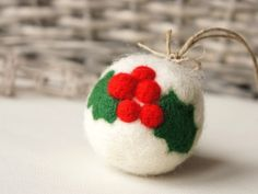 Felt Ornaments DIY - Felted Christmas ball - cute idea for the upcomming holidays. Get you kids or friends together and create these stunning wool felt balls ornaments for your Christmas tree. Felt Christmas Decorations, Beaded Christmas Ornaments, Felt Ornaments, Christmas Balls, Handmade Christmas, Glass Ornaments, Felt Christmas Trees, Needle Felted Ornaments, Felted Wool Crafts