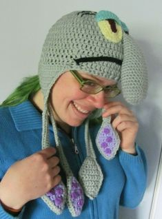 Squidward Tentacles Earflap Hat made to order all sizes | HatsandSpats - Accessories on ArtFire