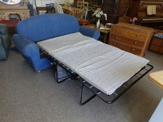 Blue Sofa Bed With Mattress, £75, Measures H92cm, W187cm, D87cm, Depth with mattress 210cm, Mattress width 124cm, Local Deliver Service Available, (PC217)