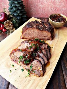 Beer braised brisket with onion jam