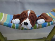 """Dog Tired"" polymer Clay Basset Hound Hammock by Laurie Valko, via Flickr"